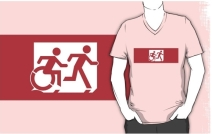Accessible Means of Egress Icon Exit Sign Wheelchair Wheelie Running Man Symbol by Lee Wilson PWD Disability Emergency Evacuation Adult T-shirt 519
