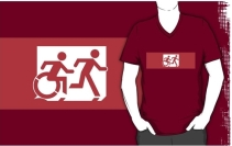 Accessible Means of Egress Icon Exit Sign Wheelchair Wheelie Running Man Symbol by Lee Wilson PWD Disability Emergency Evacuation Adult T-shirt 520