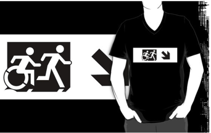 Accessible Means of Egress Icon Exit Sign Wheelchair Wheelie Running Man Symbol by Lee Wilson PWD Disability Emergency Evacuation Adult T-shirt 52