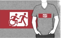 Accessible Means of Egress Icon Exit Sign Wheelchair Wheelie Running Man Symbol by Lee Wilson PWD Disability Emergency Evacuation Adult T-shirt 521