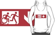 Accessible Means of Egress Icon Exit Sign Wheelchair Wheelie Running Man Symbol by Lee Wilson PWD Disability Emergency Evacuation Adult T-shirt 522