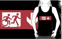 Accessible Means of Egress Icon Exit Sign Wheelchair Wheelie Running Man Symbol by Lee Wilson PWD Disability Emergency Evacuation Adult T-shirt 523