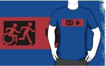 Accessible Means of Egress Icon Exit Sign Wheelchair Wheelie Running Man Symbol by Lee Wilson PWD Disability Emergency Evacuation Adult T-shirt 524