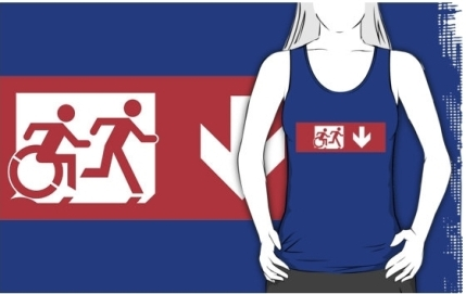 Accessible Means of Egress Icon Exit Sign Wheelchair Wheelie Running Man Symbol by Lee Wilson PWD Disability Emergency Evacuation Adult T-shirt 526