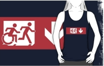 Accessible Means of Egress Icon Exit Sign Wheelchair Wheelie Running Man Symbol by Lee Wilson PWD Disability Emergency Evacuation Adult T-shirt 527