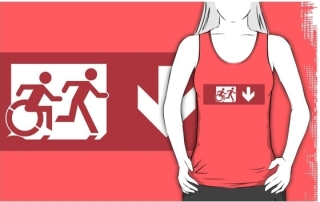 Accessible Means of Egress Icon Exit Sign Wheelchair Wheelie Running Man Symbol by Lee Wilson PWD Disability Emergency Evacuation Adult T-shirt 528
