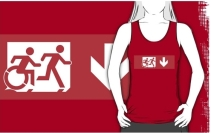Accessible Means of Egress Icon Exit Sign Wheelchair Wheelie Running Man Symbol by Lee Wilson PWD Disability Emergency Evacuation Adult T-shirt 529