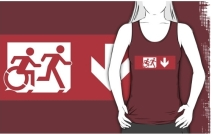 Accessible Means of Egress Icon Exit Sign Wheelchair Wheelie Running Man Symbol by Lee Wilson PWD Disability Emergency Evacuation Adult T-shirt 530
