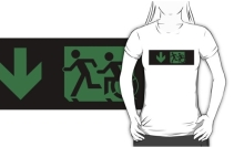 Accessible Means of Egress Icon Exit Sign Wheelchair Wheelie Running Man Symbol by Lee Wilson PWD Disability Emergency Evacuation Adult T-shirt 53