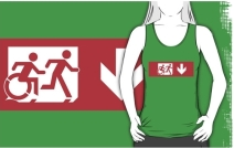 Accessible Means of Egress Icon Exit Sign Wheelchair Wheelie Running Man Symbol by Lee Wilson PWD Disability Emergency Evacuation Adult T-shirt 531