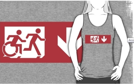 Accessible Means of Egress Icon Exit Sign Wheelchair Wheelie Running Man Symbol by Lee Wilson PWD Disability Emergency Evacuation Adult T-shirt 532