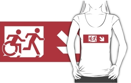 Accessible Means of Egress Icon Exit Sign Wheelchair Wheelie Running Man Symbol by Lee Wilson PWD Disability Emergency Evacuation Adult T-shirt 533