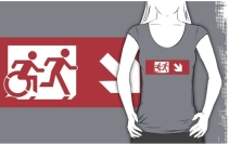 Accessible Means of Egress Icon Exit Sign Wheelchair Wheelie Running Man Symbol by Lee Wilson PWD Disability Emergency Evacuation Adult T-shirt 534