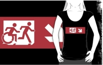 Accessible Means of Egress Icon Exit Sign Wheelchair Wheelie Running Man Symbol by Lee Wilson PWD Disability Emergency Evacuation Adult T-shirt 535