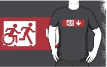 Accessible Means of Egress Icon Exit Sign Wheelchair Wheelie Running Man Symbol by Lee Wilson PWD Disability Emergency Evacuation Adult T-shirt 536