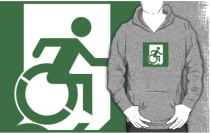 Accessible Means of Egress Icon Exit Sign Wheelchair Wheelie Running Man Symbol by Lee Wilson PWD Disability Emergency Evacuation Adult T-shirt 537