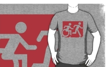Accessible Means of Egress Icon Exit Sign Wheelchair Wheelie Running Man Symbol by Lee Wilson PWD Disability Emergency Evacuation Adult T-shirt 538