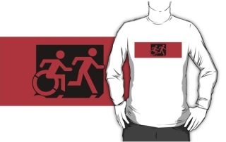 Accessible Means of Egress Icon Exit Sign Wheelchair Wheelie Running Man Symbol by Lee Wilson PWD Disability Emergency Evacuation Adult T-shirt 539