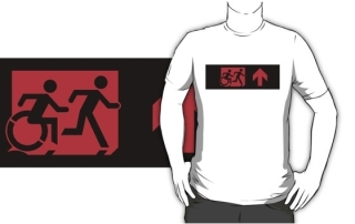 Accessible Means of Egress Icon Exit Sign Wheelchair Wheelie Running Man Symbol by Lee Wilson PWD Disability Emergency Evacuation Adult T-shirt 540