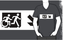 Accessible Means of Egress Icon Exit Sign Wheelchair Wheelie Running Man Symbol by Lee Wilson PWD Disability Emergency Evacuation Adult T-shirt 54