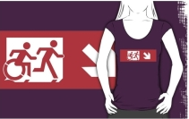 Accessible Means of Egress Icon Exit Sign Wheelchair Wheelie Running Man Symbol by Lee Wilson PWD Disability Emergency Evacuation Adult T-shirt 541