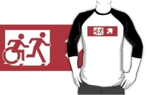 Accessible Means of Egress Icon Exit Sign Wheelchair Wheelie Running Man Symbol by Lee Wilson PWD Disability Emergency Evacuation Adult T-shirt 542