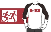 Accessible Means of Egress Icon Exit Sign Wheelchair Wheelie Running Man Symbol by Lee Wilson PWD Disability Emergency Evacuation Adult T-shirt 543