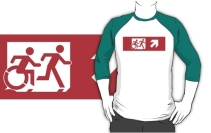 Accessible Means of Egress Icon Exit Sign Wheelchair Wheelie Running Man Symbol by Lee Wilson PWD Disability Emergency Evacuation Adult T-shirt 544