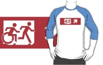 Accessible Means of Egress Icon Exit Sign Wheelchair Wheelie Running Man Symbol by Lee Wilson PWD Disability Emergency Evacuation Adult T-shirt 545