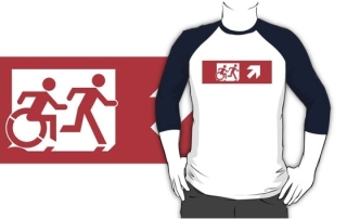 Accessible Means of Egress Icon Exit Sign Wheelchair Wheelie Running Man Symbol by Lee Wilson PWD Disability Emergency Evacuation Adult T-shirt 546