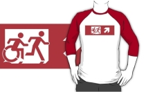 Accessible Means of Egress Icon Exit Sign Wheelchair Wheelie Running Man Symbol by Lee Wilson PWD Disability Emergency Evacuation Adult T-shirt 547