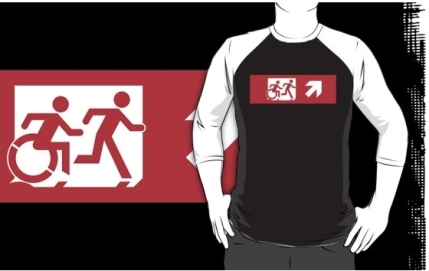 Accessible Means of Egress Icon Exit Sign Wheelchair Wheelie Running Man Symbol by Lee Wilson PWD Disability Emergency Evacuation Adult T-shirt 548