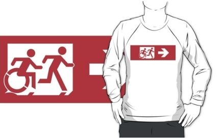 Accessible Means of Egress Icon Exit Sign Wheelchair Wheelie Running Man Symbol by Lee Wilson PWD Disability Emergency Evacuation Adult T-shirt 549