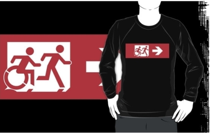 Accessible Means of Egress Icon Exit Sign Wheelchair Wheelie Running Man Symbol by Lee Wilson PWD Disability Emergency Evacuation Adult T-shirt 550