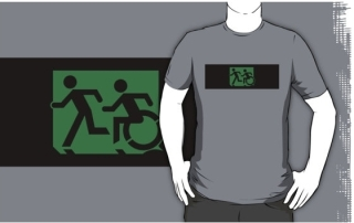 Accessible Means of Egress Icon Exit Sign Wheelchair Wheelie Running Man Symbol by Lee Wilson PWD Disability Emergency Evacuation Adult T-shirt 55