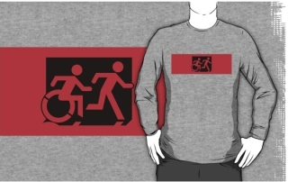 Accessible Means of Egress Icon Exit Sign Wheelchair Wheelie Running Man Symbol by Lee Wilson PWD Disability Emergency Evacuation Adult T-shirt 551