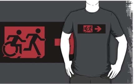 Accessible Means of Egress Icon Exit Sign Wheelchair Wheelie Running Man Symbol by Lee Wilson PWD Disability Emergency Evacuation Adult T-shirt 552