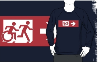 Accessible Means of Egress Icon Exit Sign Wheelchair Wheelie Running Man Symbol by Lee Wilson PWD Disability Emergency Evacuation Adult T-shirt 553