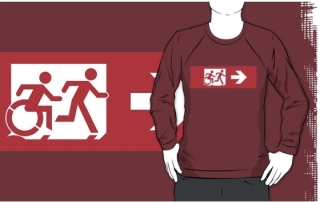 Accessible Means of Egress Icon Exit Sign Wheelchair Wheelie Running Man Symbol by Lee Wilson PWD Disability Emergency Evacuation Adult T-shirt 554