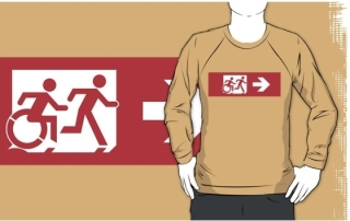 Accessible Means of Egress Icon Exit Sign Wheelchair Wheelie Running Man Symbol by Lee Wilson PWD Disability Emergency Evacuation Adult T-shirt 555