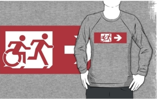 Accessible Means of Egress Icon Exit Sign Wheelchair Wheelie Running Man Symbol by Lee Wilson PWD Disability Emergency Evacuation Adult T-shirt 556