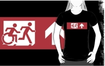 Accessible Means of Egress Icon Exit Sign Wheelchair Wheelie Running Man Symbol by Lee Wilson PWD Disability Emergency Evacuation Adult T-shirt 557