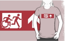 Accessible Means of Egress Icon Exit Sign Wheelchair Wheelie Running Man Symbol by Lee Wilson PWD Disability Emergency Evacuation Adult T-shirt 558