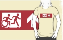 Accessible Means of Egress Icon Exit Sign Wheelchair Wheelie Running Man Symbol by Lee Wilson PWD Disability Emergency Evacuation Adult T-shirt 559