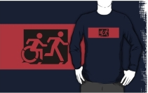 Accessible Means of Egress Icon Exit Sign Wheelchair Wheelie Running Man Symbol by Lee Wilson PWD Disability Emergency Evacuation Adult T-shirt 560