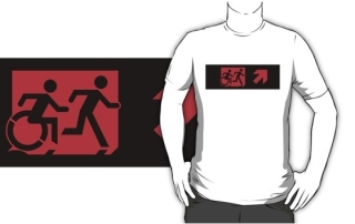 Accessible Means of Egress Icon Exit Sign Wheelchair Wheelie Running Man Symbol by Lee Wilson PWD Disability Emergency Evacuation Adult T-shirt 561