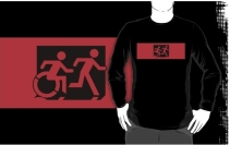 Accessible Means of Egress Icon Exit Sign Wheelchair Wheelie Running Man Symbol by Lee Wilson PWD Disability Emergency Evacuation Adult T-shirt 562