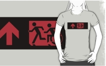 Accessible Means of Egress Icon Exit Sign Wheelchair Wheelie Running Man Symbol by Lee Wilson PWD Disability Emergency Evacuation Adult T-shirt 567