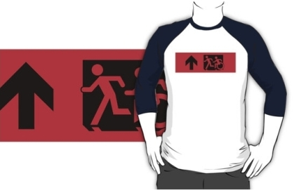 Accessible Means of Egress Icon Exit Sign Wheelchair Wheelie Running Man Symbol by Lee Wilson PWD Disability Emergency Evacuation Adult T-shirt 568