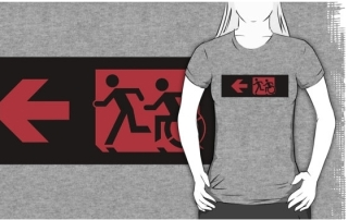 Accessible Means of Egress Icon Exit Sign Wheelchair Wheelie Running Man Symbol by Lee Wilson PWD Disability Emergency Evacuation Adult T-shirt 569